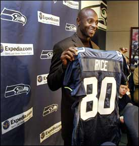 Seahawks acquire legendary Rice from Raiders. New Seattle Seahawks wide  receiver Jerry Rice shows off his new jersey Tuesday ... d6bd0c27b