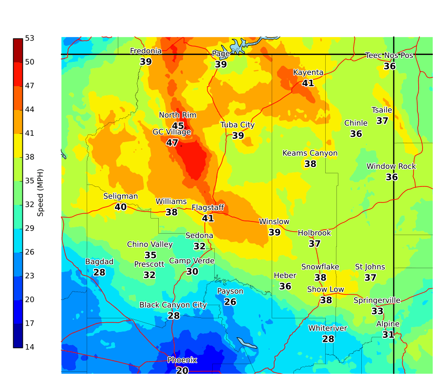 Maximum wind gusts on Oct. 9