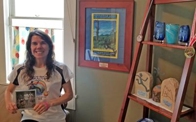 Sara Wagner at home with Soulstice memorabilia