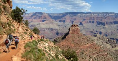 Hikers descend South Kaibab Trail