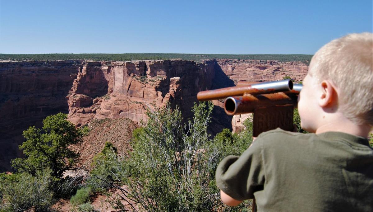 Ruin Scope Near Spider Rock_authors son checks out dwellings.JPG
