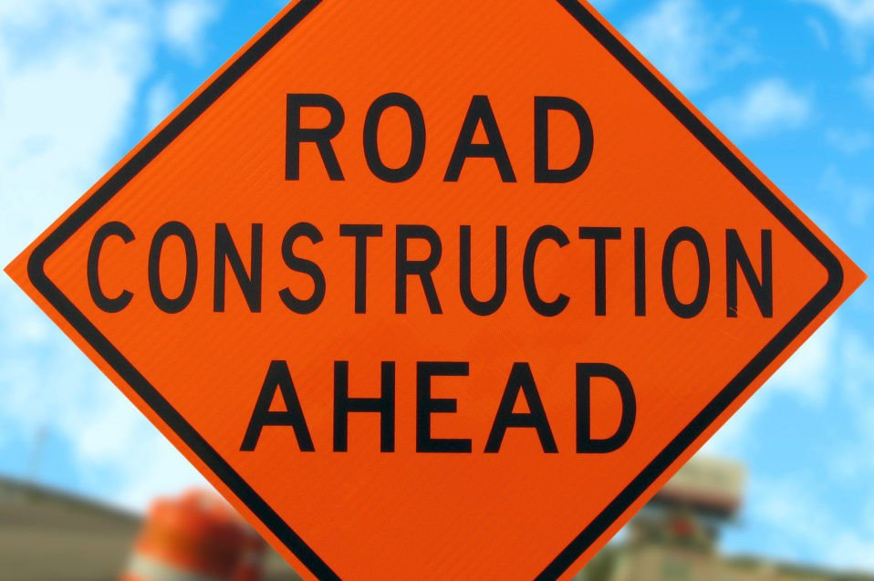 Road Construction sign stock photo