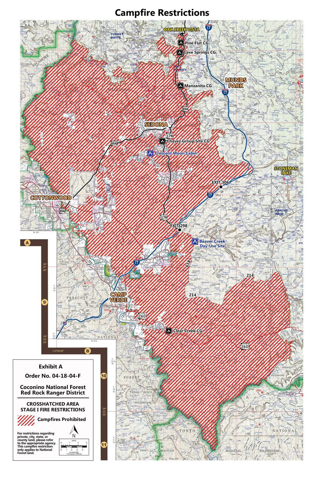 Coconino National Forest Stage 1 Fire Restrictions Map