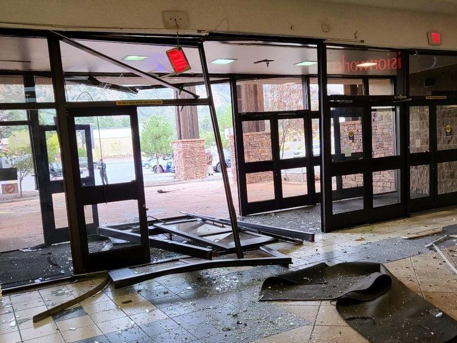 Flagstaff Mall damage to entrance