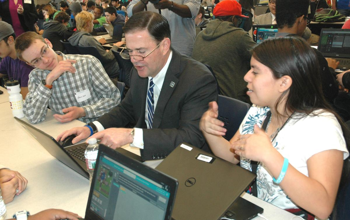 Ducey with Computer Programming Students