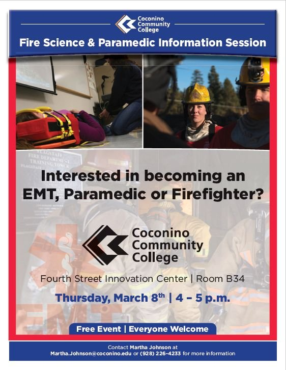 Fire Science and Paramedic Information Session Flyer
