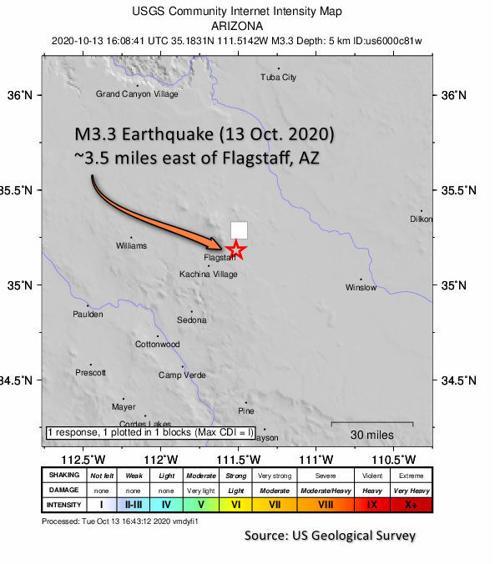 Earthquake in Flagstaff Oct. 13, 2020