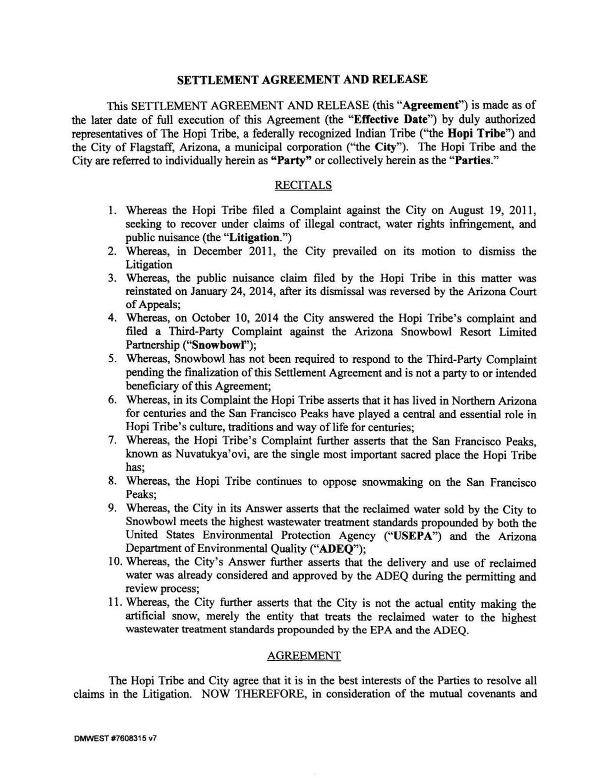 Hopi Settlement Agreement Azdailysun