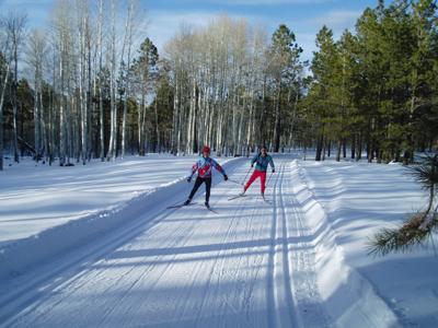 Cross country skiers at Arizona Nordic Village
