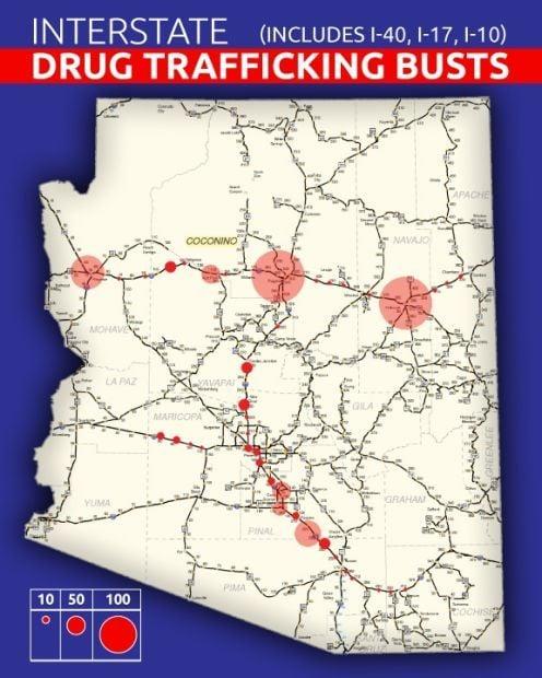 Drug trafficking busts by Arizona Highway Patrol
