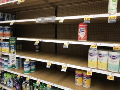 Near empty shelves