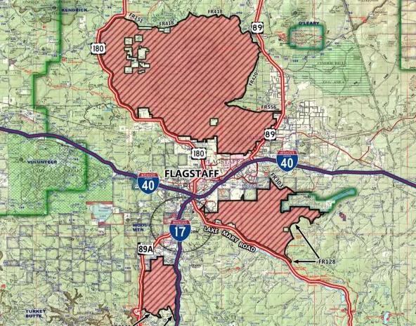 Map Of 89a Arizona.Coconino National Forest Closure Map Local Azdailysun Com