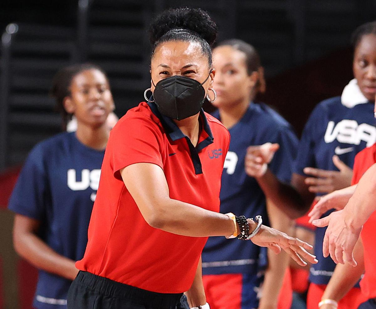 Head coach Dawn Staley of Team United States reacts against France during the first half of a Women's Basketball Preliminary Round Group B game on day 10 of the Tokyo 2020 Olympic Games at Saitama Super Arena on Monday, August 2, 2021 in Saitama, Japan.