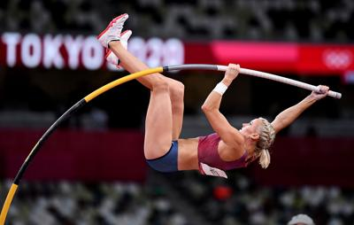 U.S. pole vaulter Katie Nageotte wins the gold medal in the women's pole vault final on Thursday, August 5, 2021 at the 2020 Tokyo Olympics.
