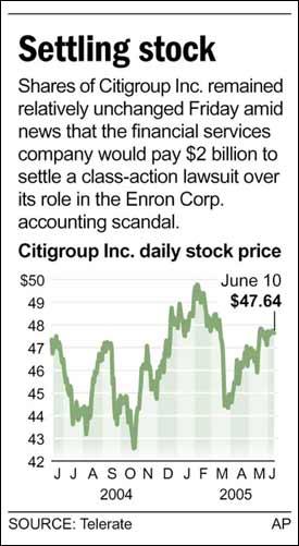Citigroup to settle Enron suit for $2B | | azdailysun com