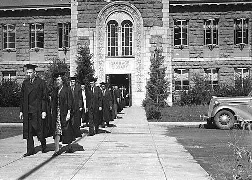 1942: graduation procession from Gammage Library