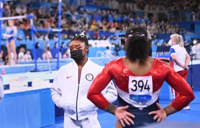 -TOKYO, JAPAN July 26, 2021: USA's Simone Biles looks on after pulling out of the women's team final at the 2020 Tokyo Olympics.