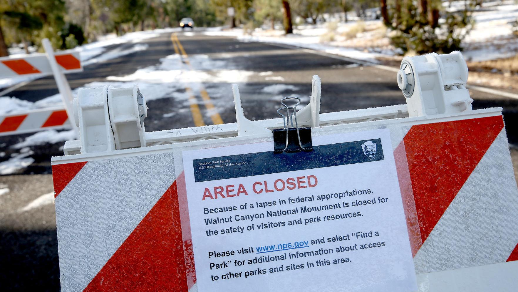Entrance gates to South Rim open during shutdown; Flagstaff monuments closed