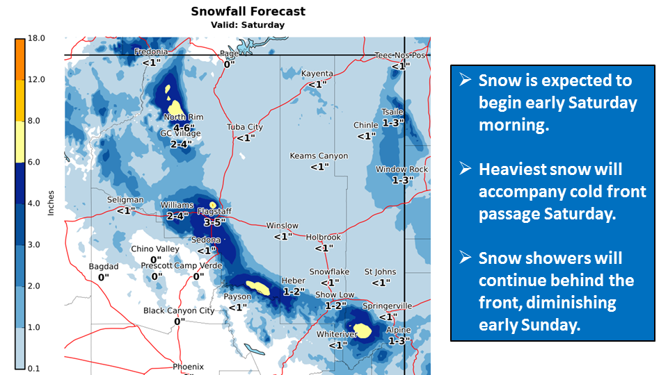 Snow up to 5 inches moves into Flagstaff Saturday morning