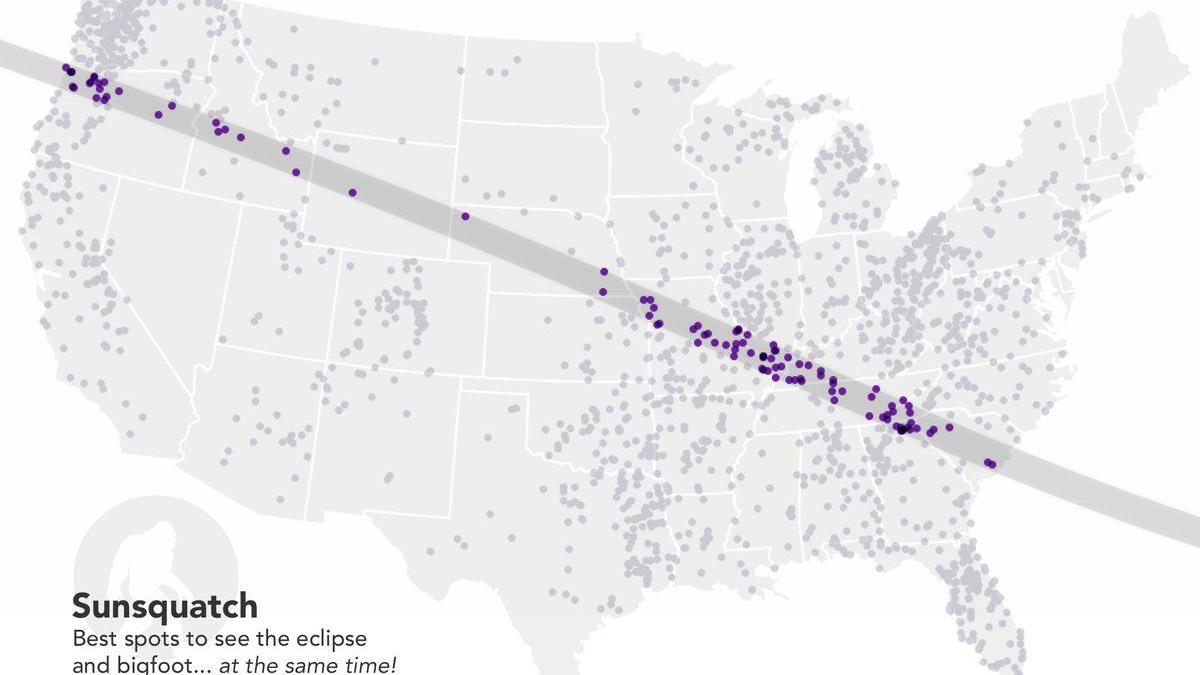 Where can you see a solar eclipse -- and maybe Bigfoot at the same time? Fun with eclipse maps