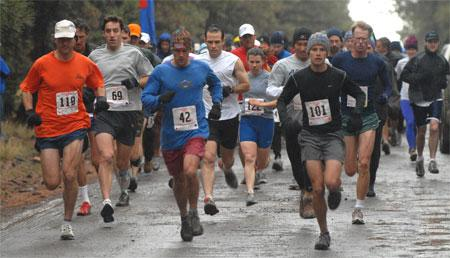 Running hard, rain or shine