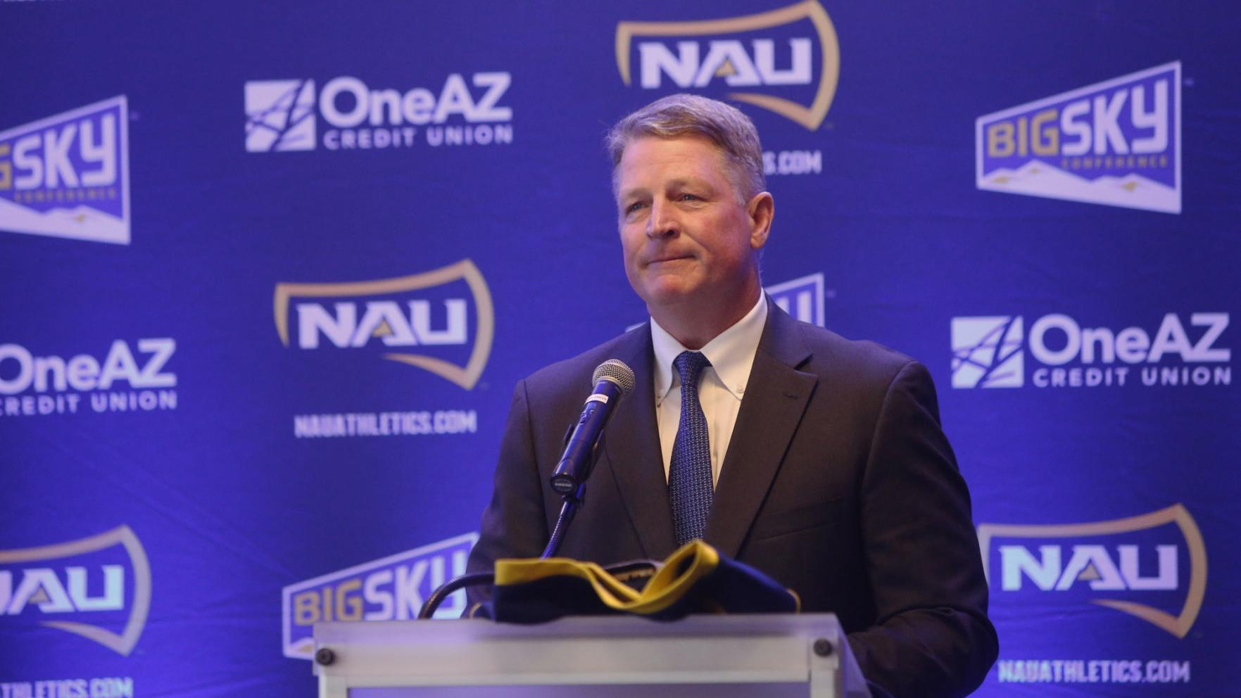 New NAU football coach emotional in introductory press conference