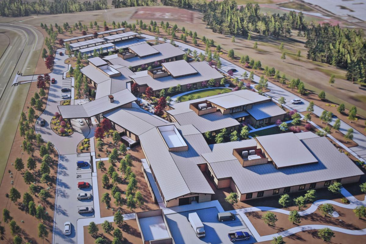 A rendering of the full veterans' home being built on McMillian Mesa.