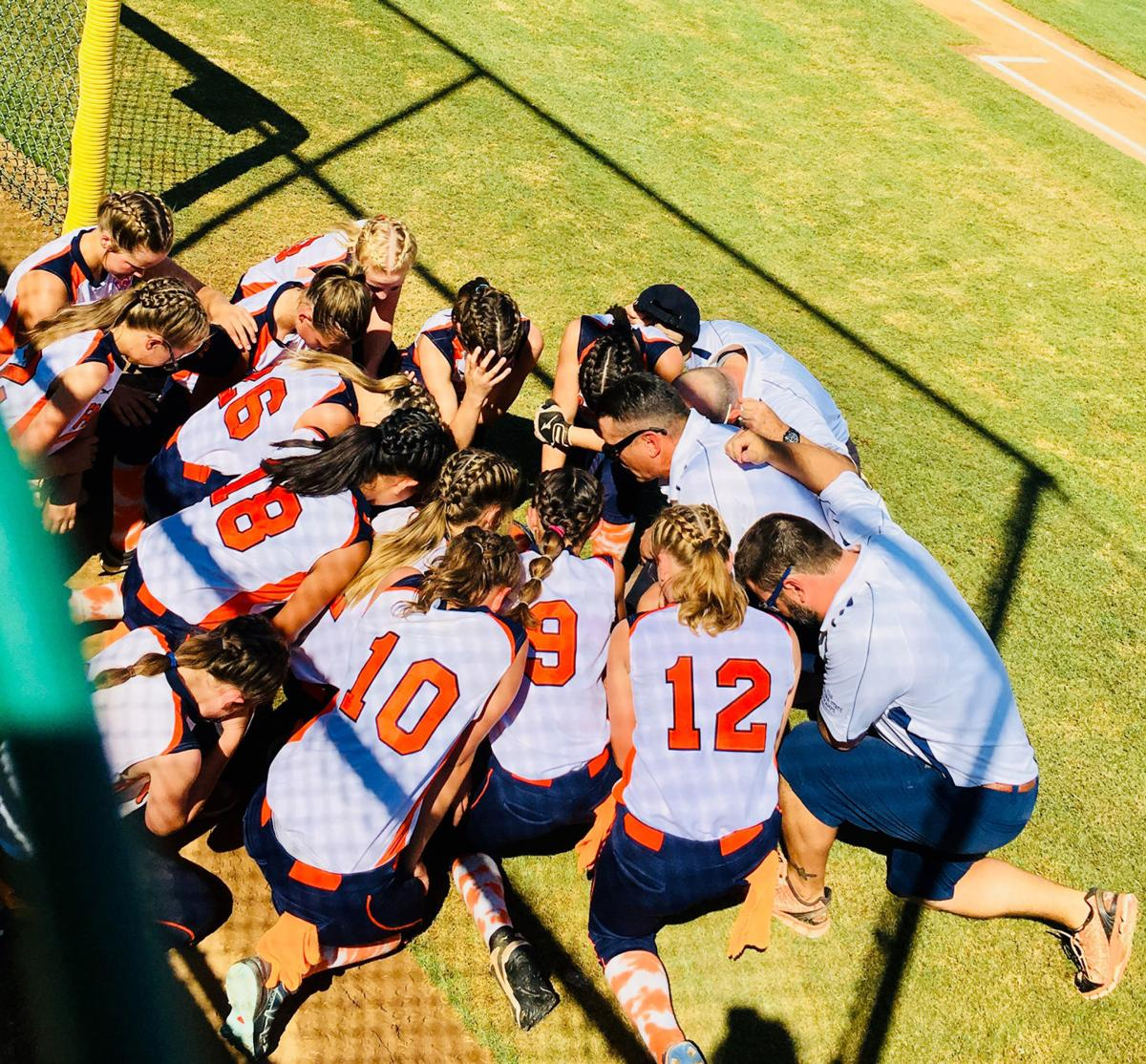 Softball Girls Little League Praying For a Victory