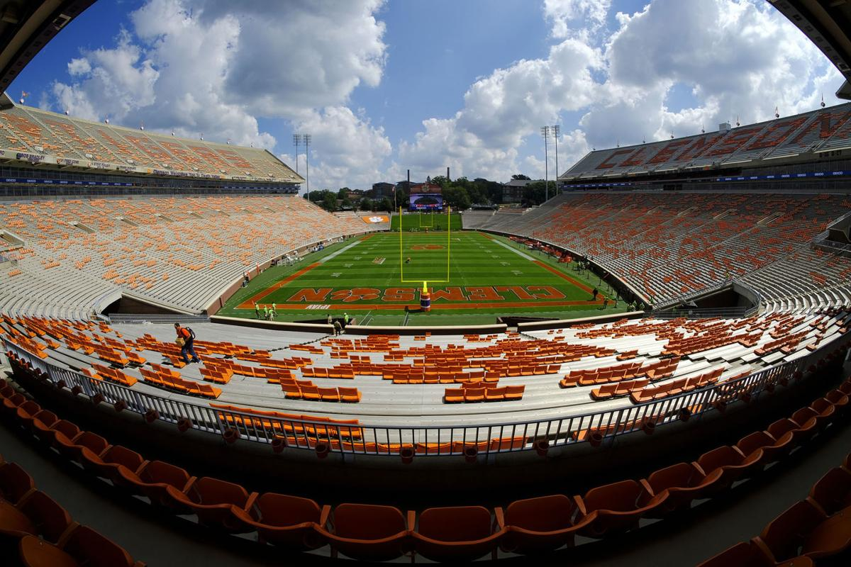 The stadium is empty beforehand as Clemson prepares to take on Boston College at Memorial Stadium in Clemson, S.C., on September 23, 2017.