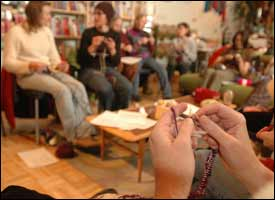 Chatting and knitting for a good cause