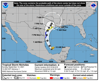 Tropical Storm Nicholas appears ready to threaten area