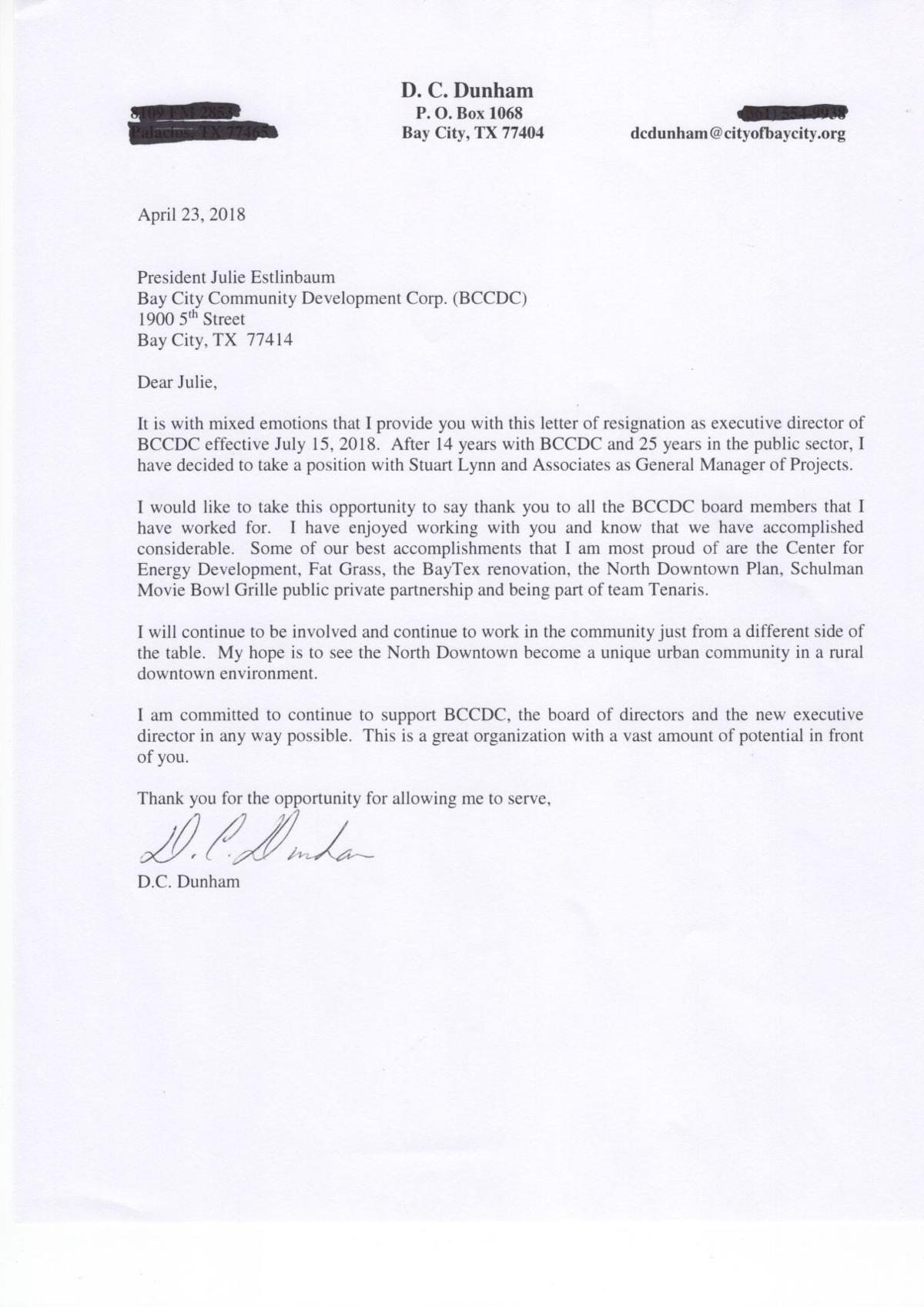 Dunham Resigns As Bay City Cdc Director Community Baycitytribune