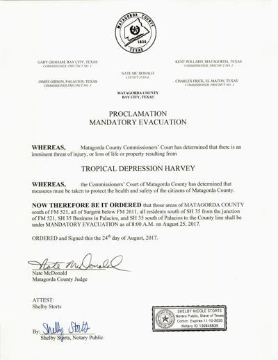 Mandatory evacuation for parts of Matagorda County