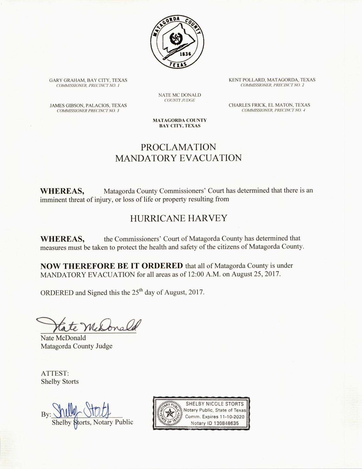 Judge Nate McDonald's evacuation order