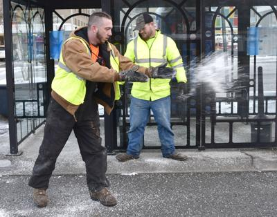 Bluefield city workers spreading salt