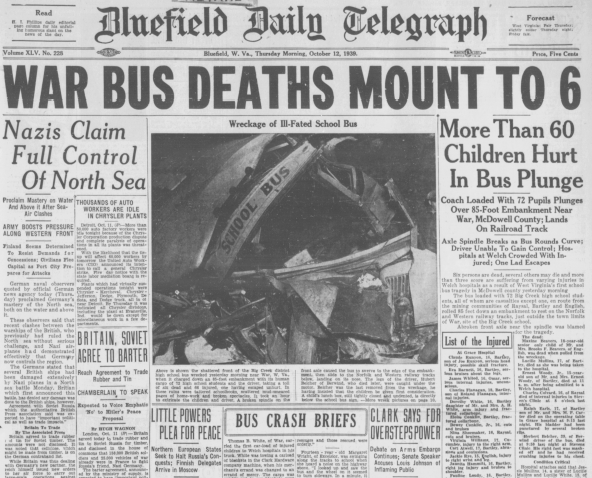 Front page Oct. 12, 1939 deadly bus crash