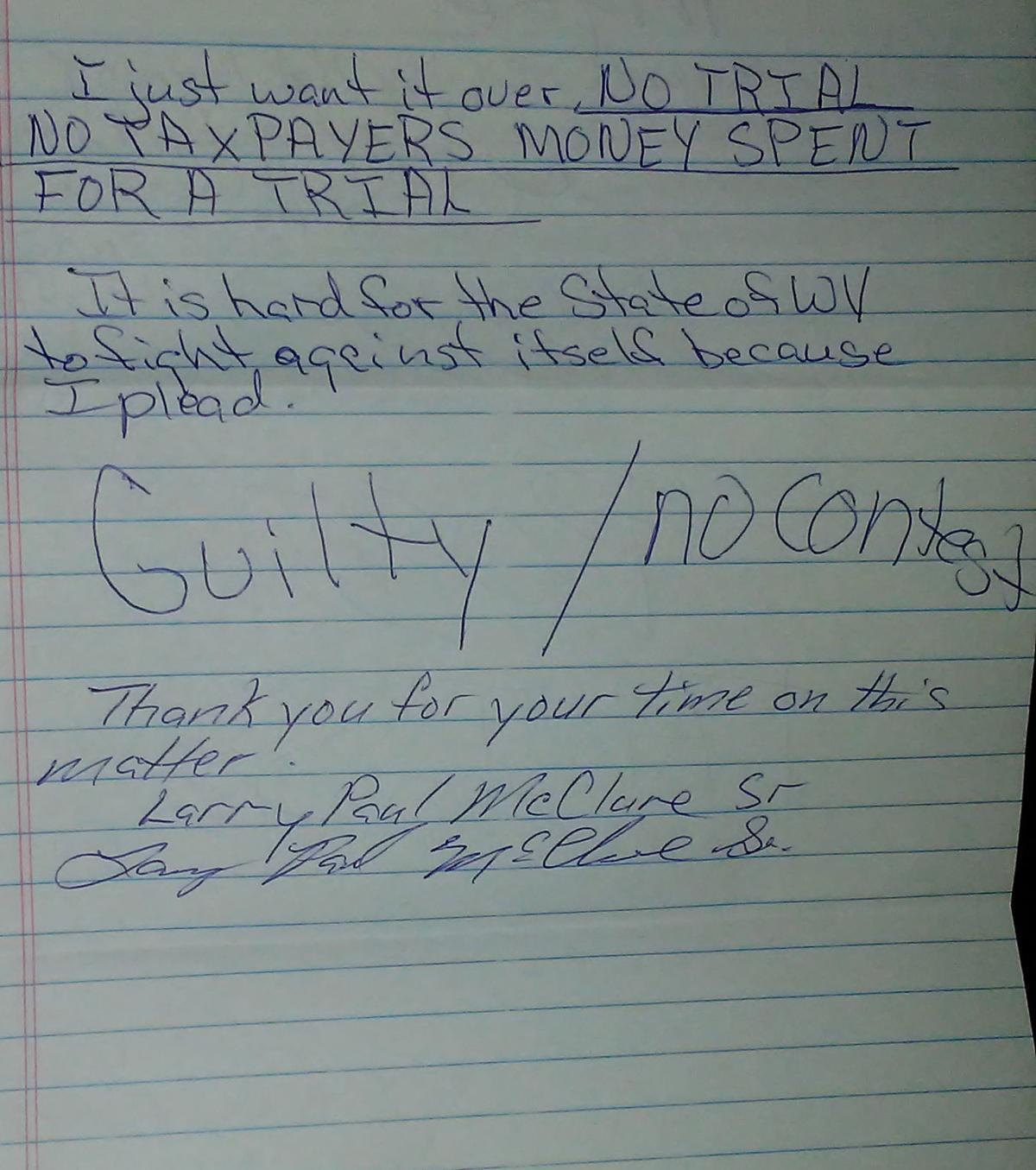 McClure confession letter