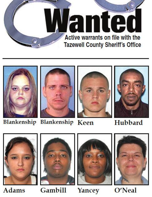 Active warrants with the Tazewell County Sheriff's Office
