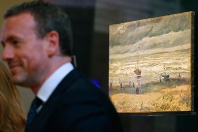 "edb9efe854 Van Gogh Museum director Axel Rueger stands next to stolen and recovered  ""Seascape at Scheveningen"" by Dutch master Vincent van Gogh"