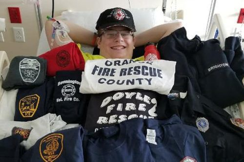 Sick Teen Who Aspires To Be A Firefighter Is Getting Fire Department T-shirts From Around The Country