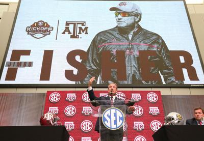 Texas A&M head coach Jimbo Fisher holds his SEC Media Days news conference at the College Football Hall of Fame on July 16, 2018, in Atlanta.