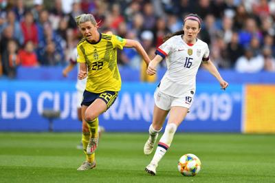 Olivia Schough of Sweden (22) follows Rose Lavelle of the United States (16) during a match in the FIFA Women's World Cup 2019 on Thursday, June 20, 2019 Le Havre, France.