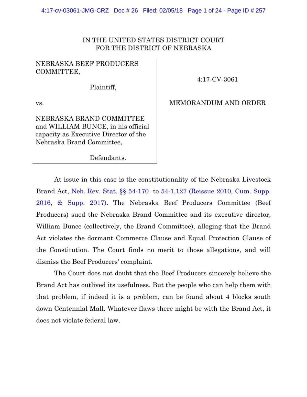 Nebraska Brand Committee lawsuit: Memorandum and order