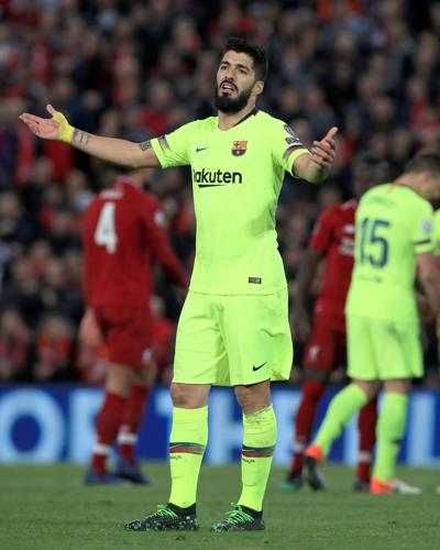 Barcelona's Luis Suarez looks dejected during the UEFA Champions League semifinal, second leg match at Anfield, Liverpool, on May 7, 2019.