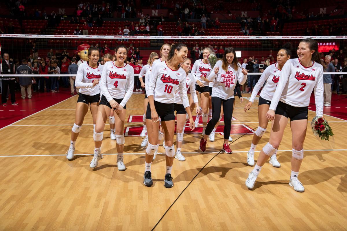 Dancing Nebraska volleyball team