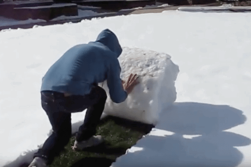 Watch These People Roll Snow Instead Of Shoveling It
