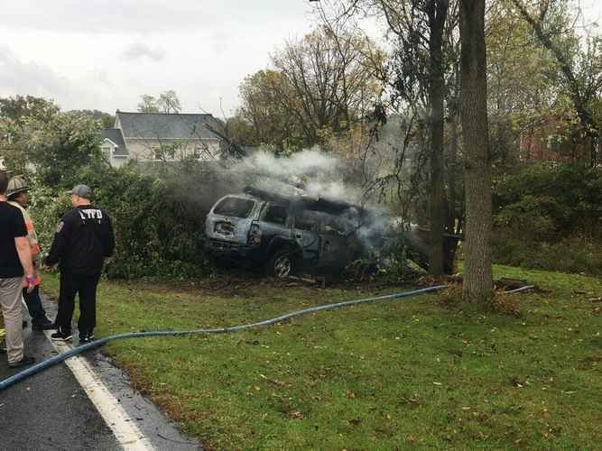 Man escapes car fire on Oley Turnpike Road in Exeter Township