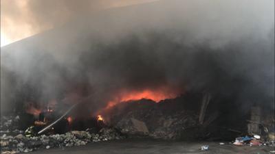 Scott Wast Services facility ablaze