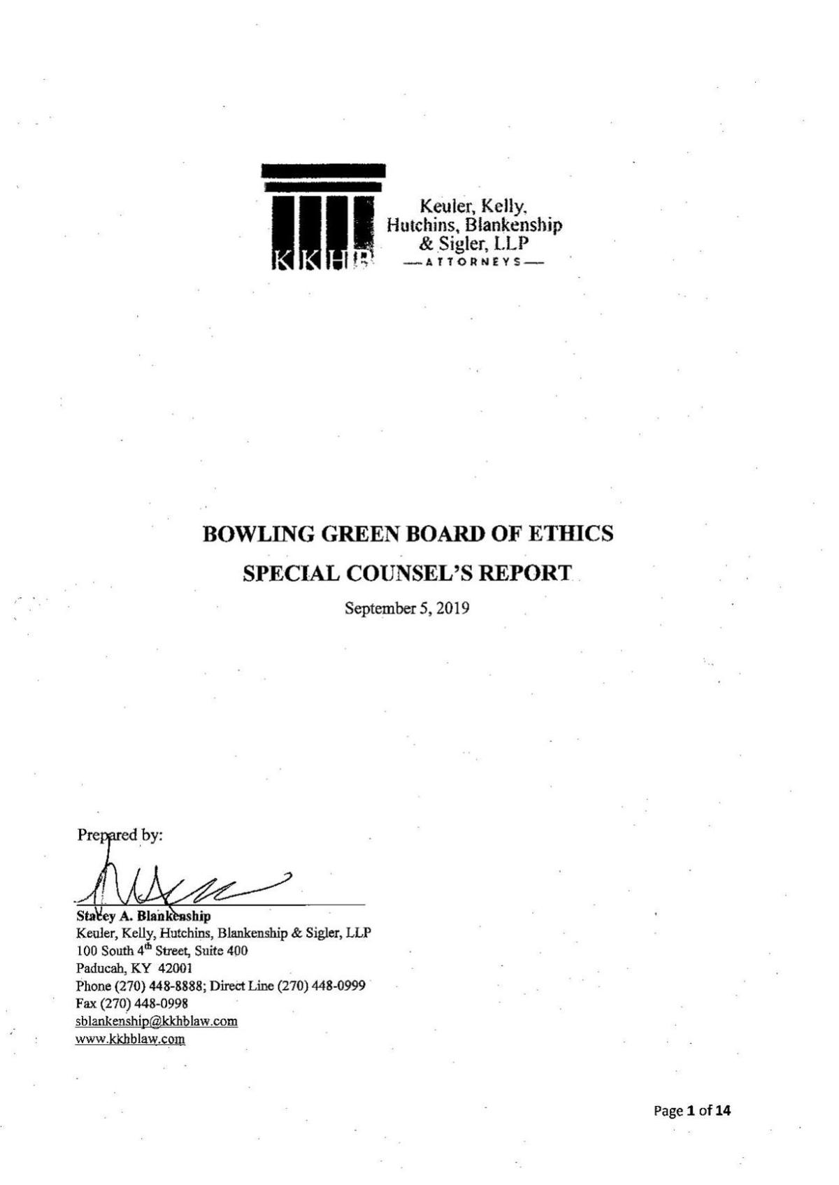 Bowling Green Board of Ethics Special Counsel's Report