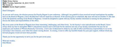 WKU faculty regent won't seek another term